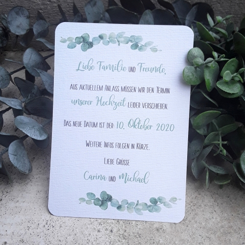 Change the date / Save the date Karte Hochzeit greenery Eukalyptus A6
